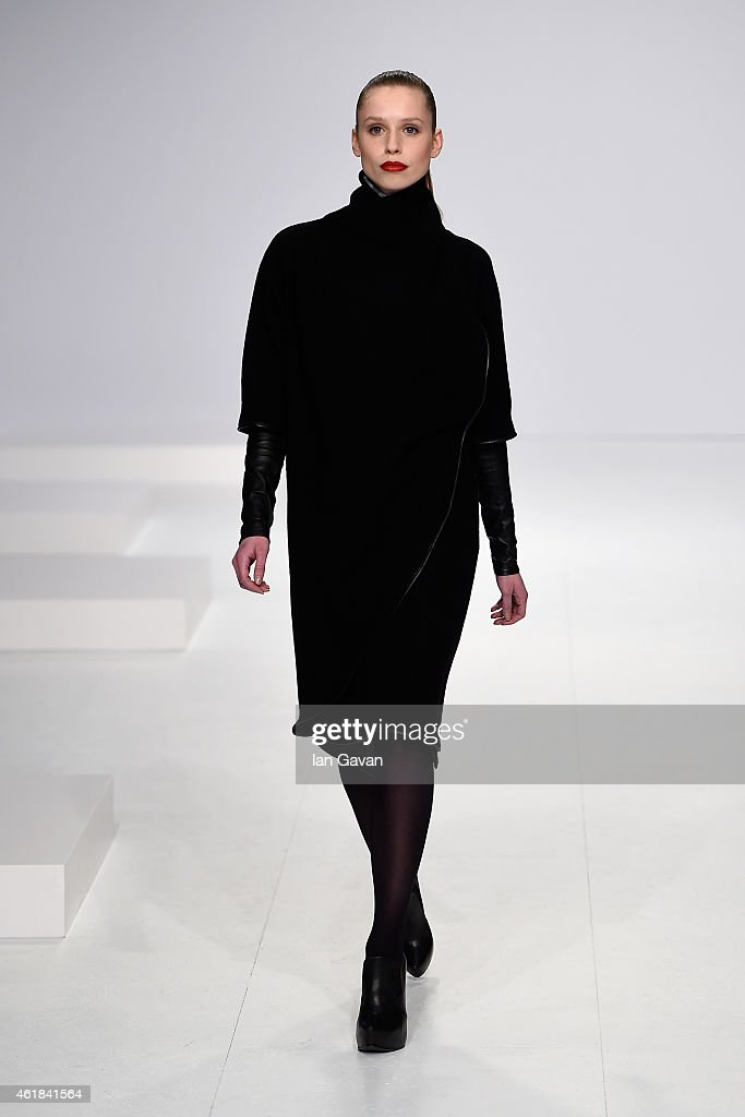A model walks the runway at the Kaseee show during the Mercedes-Benz Fashion Week Berlin Autumn/Winter 2015/16 at Brandenburg Gate on January 20, 2015 in Berlin, Germany.