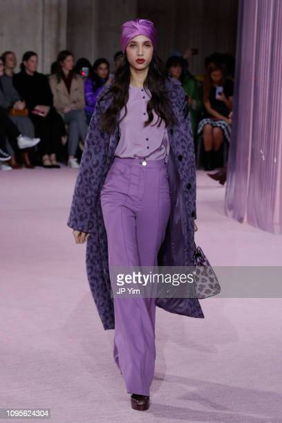 Model walks the runway at the Kate Spade AW19 Collection at Cipriani 25 Broadway on February 8, 2019 in New York City.