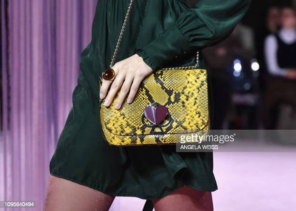 Model walks the runway at the Kate Spade AW19 Collection at Cipriani 25 Broadway during New York Fashion Week on February 8 in New York City.