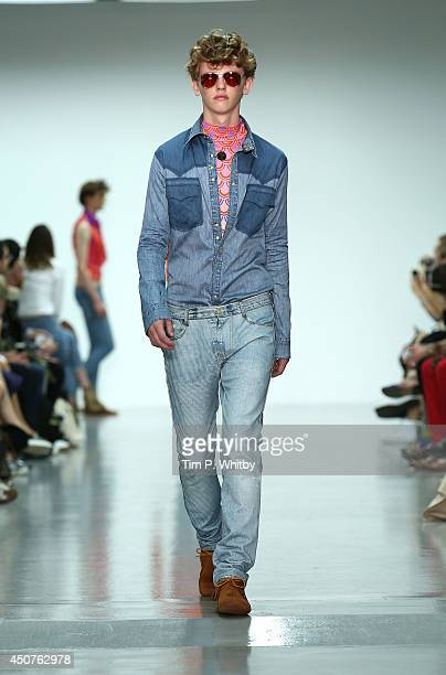 Model walks the runway at the Katie Eary show during the London Collections: Men SS15 at Victoria House on June 17, 2014 in London, England.