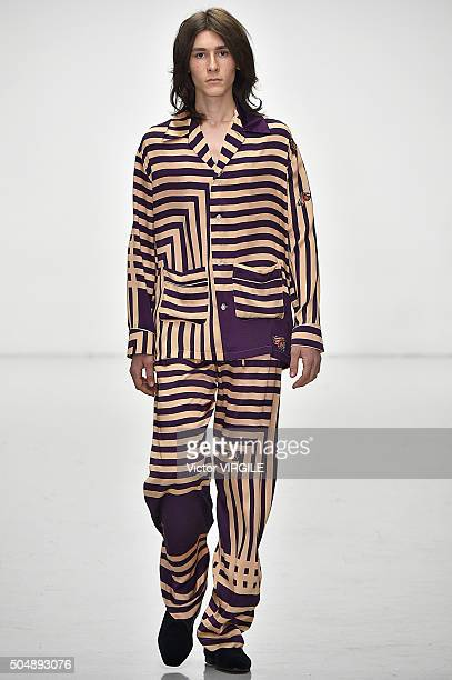 Model walks the runway at the Katie Eary show during The London Collections Men AW16 at Victoria House on January 11, 2016 in London, England.