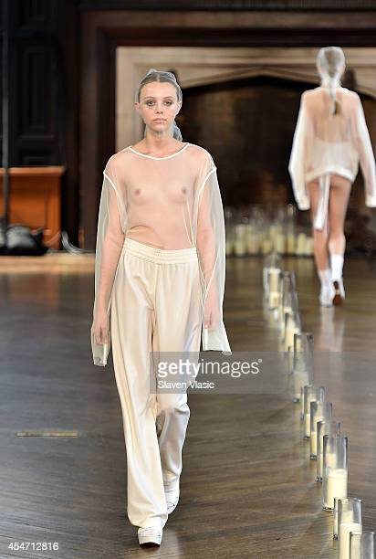 A model walks the runway at the Katie Gallagher fashion show during MercedesBenz Fashion Week Spring 2015 at at The Highline Hotel on September 5...