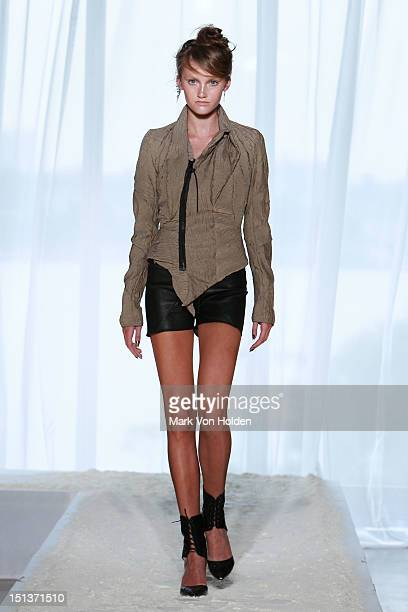 A model walks the runway at the Katie Gallagher spring 2013 presentation during MercedesBenz Fashion Week at The Standard Hotel on September 6 2012...