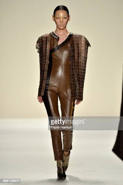 A model walks the runway at the Katya Zol fashion show during MercedesBenz Fashion Week Fall 2014 at The Theatre at Lincoln Center on February 9 2014...