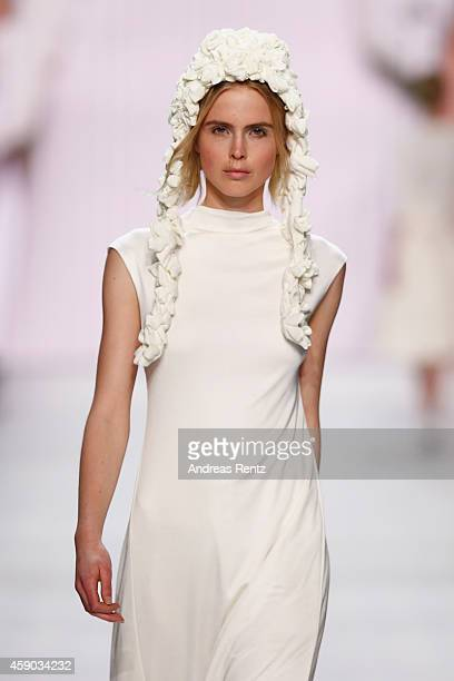 A model walks the runway at the Kazu show during the MercedesBenz Fashion Days Zurich 2014 on November 15 2014 in Zurich Switzerland
