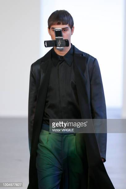 Model walks the runway at the Keenkee Fall/Winter 2020-2021 fashion show during New York Fashion Week Men's on February 05, 2020 in New York City.