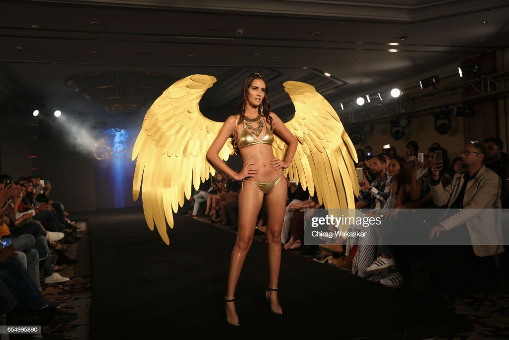 A model walks the runway at the Keith Jackson show during India Intimate Fashion Week at Hotel Leela on March 18, 2017 in Mumbai, India.
