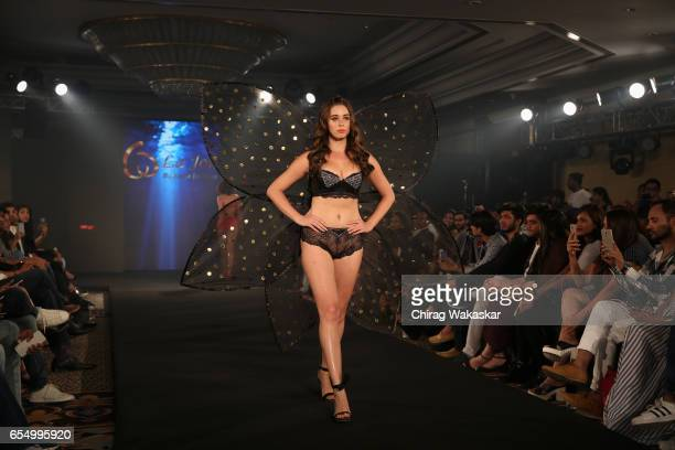 A model walks the runway at the Keith Jackson show during India Intimate Fashion Week at Hotel Leela on March 18 2017 in Mumbai India