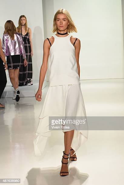 A model walks the runway at the Kempner presentation during Spring 2016 New York Fashion Week The Shows at The Space Skylight at Clarkson Sq on...