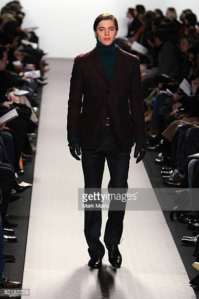 A model walks the runway at the Kenneth Cole Fall 2005 show during the Olympus Fashion Week at Bryant Park February 4 2005 in New York City