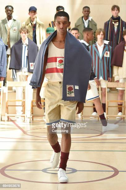 A model walks the runway at the Kent Curwen Show Spring Summer 2018 fashion show during London Menswear Fashion Week on June 11 2017 in London United...