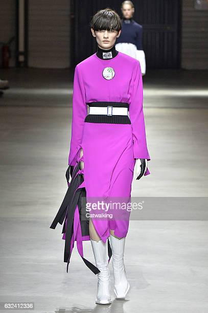 A model walks the runway at the Kenzo Autumn Winter 2017 fashion show during Paris Menswear Fashion Week on January 22 2017 in Paris France