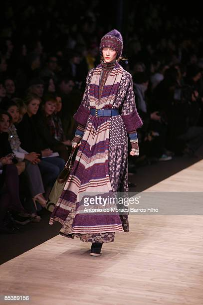 A model walks the runway at the Kenzo ReadytoWear A/W 2009 fashion show during Paris Fashion Week at Carreau du Temple on March 11 2009 in Paris...