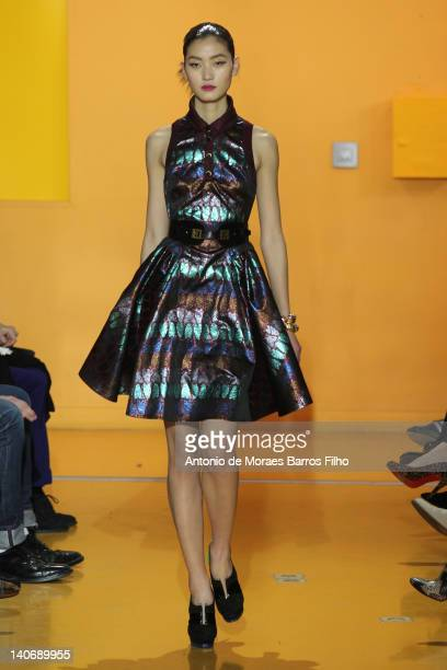 A model walks the runway at the Kenzo ReadyToWear Fall/Winter 2012 show as part of Paris Fashion Week on March 4 2012 in Paris France