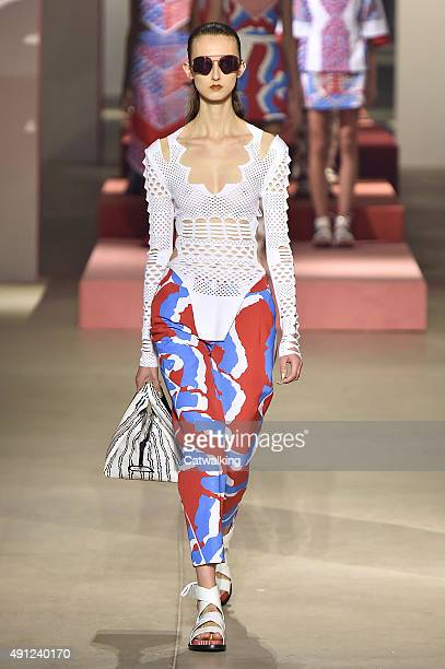 A model walks the runway at the Kenzo Spring Summer 2016 fashion show during Paris Fashion Week on October 4 2015 in Paris France