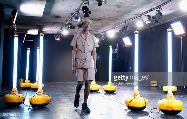 A model walks the runway at the Kiko Kostadinov presentation during The London Collections Men SS17 at BFC Presentation Space on June 13 2016 in...