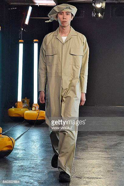 A model walks the runway at the Kiko Kostadinov presentation during The London Collections Men SS17 on June 13 2016 in London England