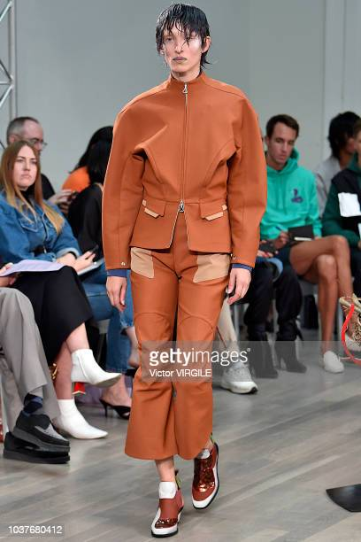 A model walks the runway at the Kiko Kostadinov Ready to Wear Spring/Summer 2019 fashion show during London Fashion Week September 2018 on September...
