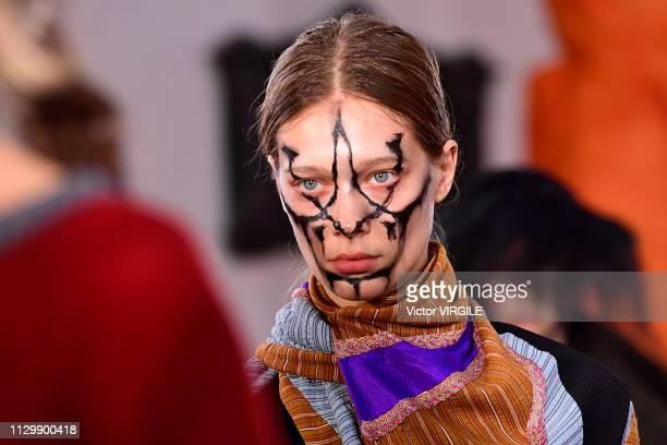 A model walks the runway at the Kiko Kostadinov Ready to Wear Fall/Winter 20192020 fashion show during London Fashion Week February 2019 on February...