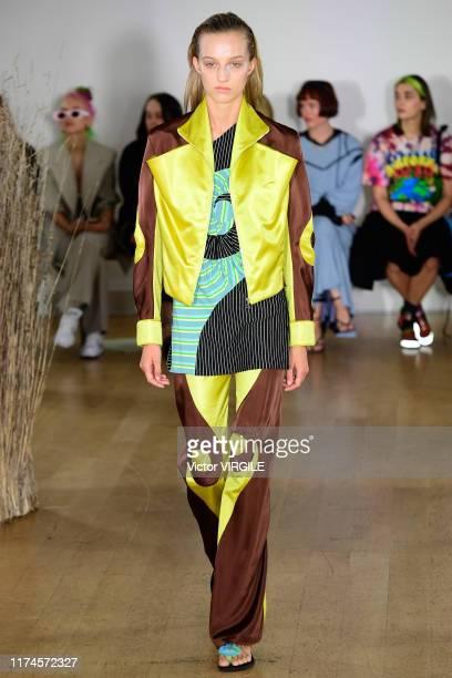 Model walks the runway at the Kiko Kostadinov Ready to Wear Spring/Summer 2020 fashion show during London Fashion Week September 2019 on September...