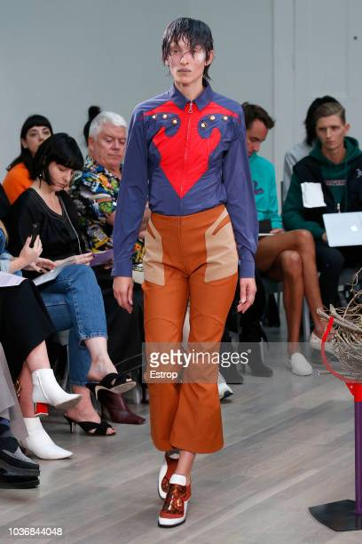 A model walks the runway at the Kiko Kostadinov Show during London Fashion Week September 2018 at XXXX on September 14 2018 in London England