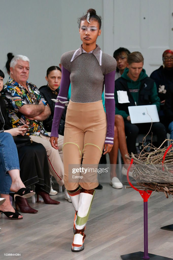 A model walks the runway at the Kiko Kostadinov Show during London Fashion Week September 2018 at XXXX on September 14, 2018 in London, England.