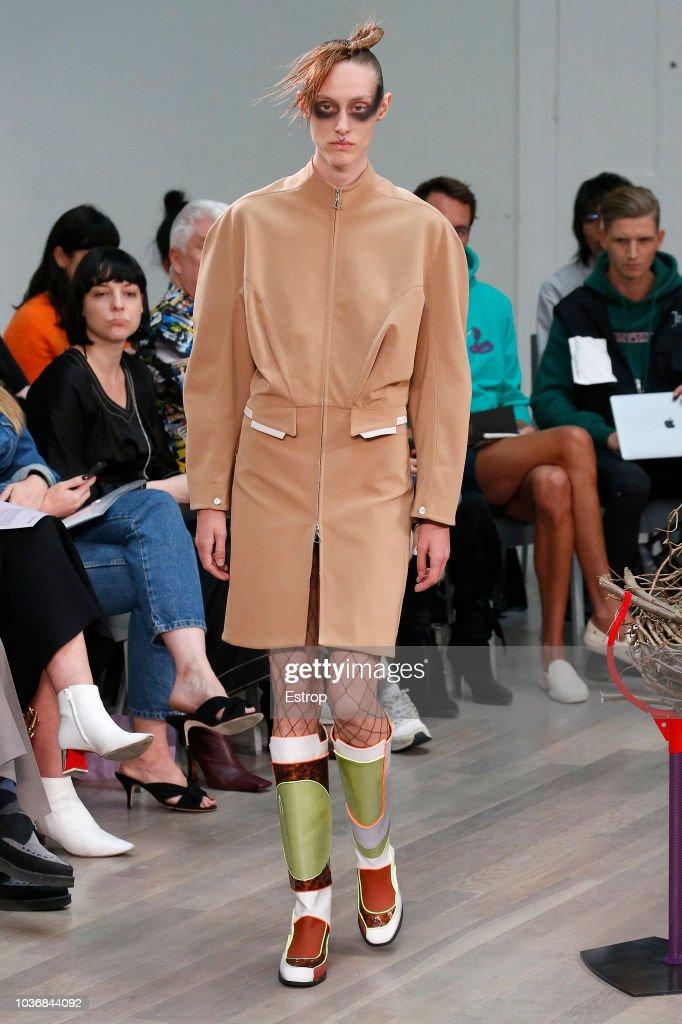 A model walks the runway at the Kiko Kostadinov Show during London Fashion Week September 2018 at XXXX on September 14, 2018 in London, England.
