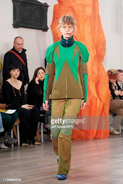 Model walks the runway at the Kiko Kostadinov show during London Fashion Week February 2019 on February 15, 2019 in London, England.