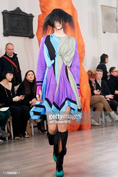 A model walks the runway at the Kiko Kostadinov show during London Fashion Week February 2019 on February 15 2019 in London England