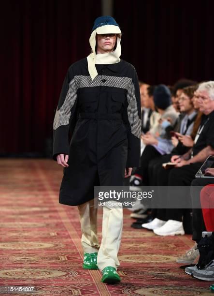 A model walks the runway at the Kiko Kostadinov show during London Fashion Week Men's June 2019 on June 07 2019 in London England