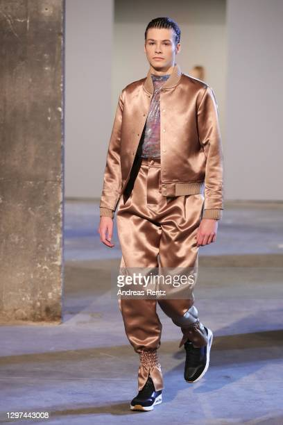 Model walks the runway at the Kilian Kerner show during the Mercedes-Benz Fashion Week Berlin January 2021 at Kraftwerk Mitte on January 20, 2021 in...
