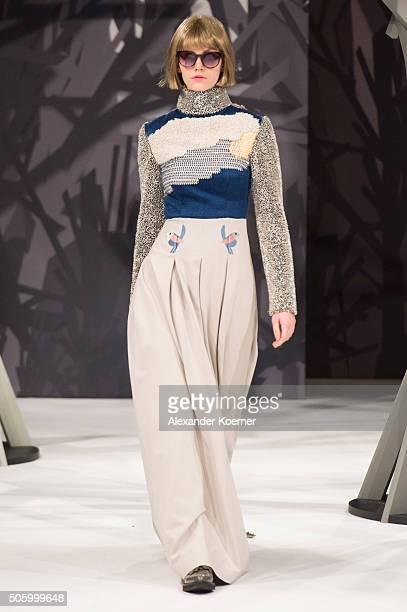 A model walks the runway at the Kilian Kerner show during the MercedesBenz Fashion Week Berlin Autumn/Winter 2016 at Ellington Hotel on January 20...