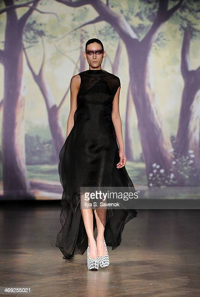 A model walks the runway at the Kithe Brewster fashion show during MercedesBenz Fashion Week Fall 2014 on February 13 2014 in New York City