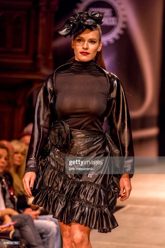 A model walks the runway at the Kjell Nordstrom show during the Fashion Week Oslo on August 23, 2017 in Oslo, Norway.