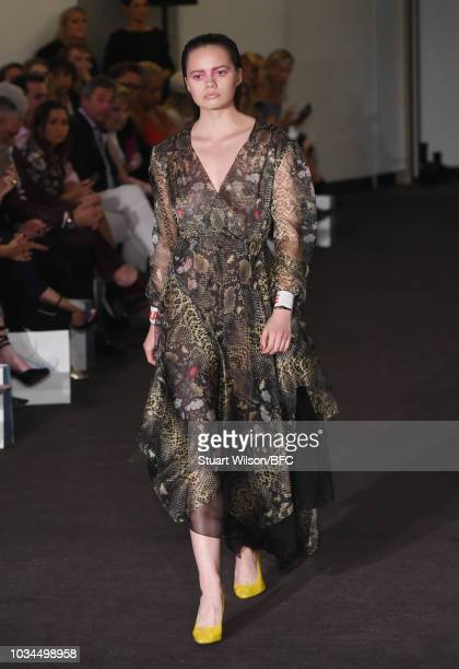 A model walks the runway at the Kolchagov Barba show during London Fashion Week September 2018 at The BFC Show Space on September 16 2018 in London...