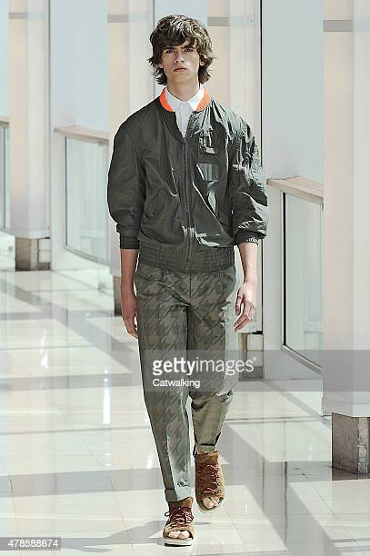 Model walks the runway at the Kolor Spring Summer 2016 fashion show during Paris Menswear Fashion Week on June 25, 2015 in Paris, France.