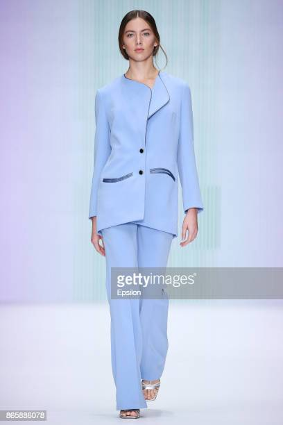 A model walks the runway at the KONDAKOVA fashion show during day four of Mercedes Benz Fashion Week Russia S/S 2018 at Manege on October 24 2017 in...