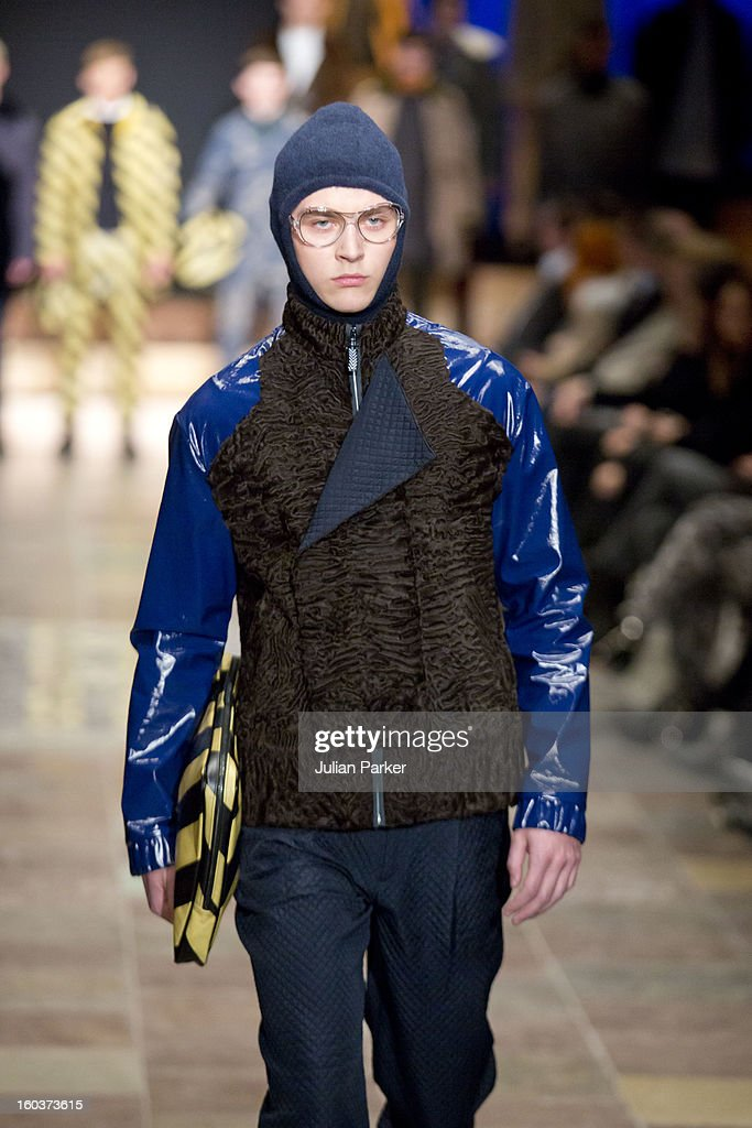 A model walks the runway at The Kopenhagen Fur show, presenting designs by Maison Christian Lacroix from France during Day 1 of Copenhagen Fashion Week Autumn/Winter 2013 on January 30, 2013 in Copenhagen, Denmark.