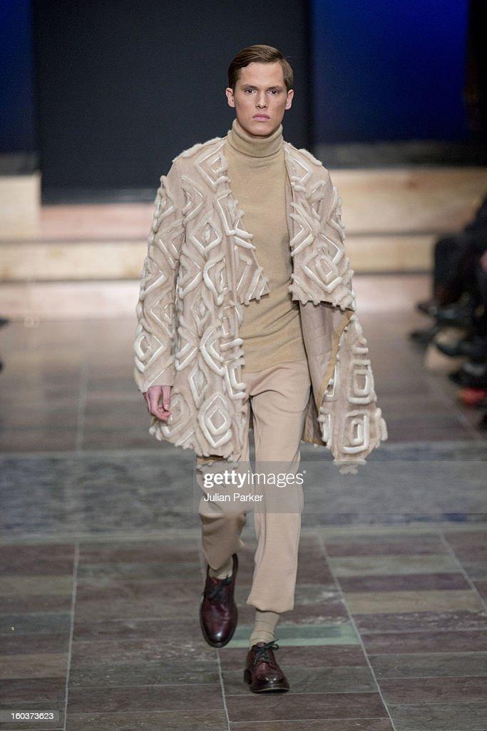 A model walks the runway at The Kopenhagen Fur show, presenting designs by Leonid Alexeev from Russia during Day 1 of Copenhagen Fashion Week Autumn/Winter 2013 on January 30, 2013 in Copenhagen, Denmark.