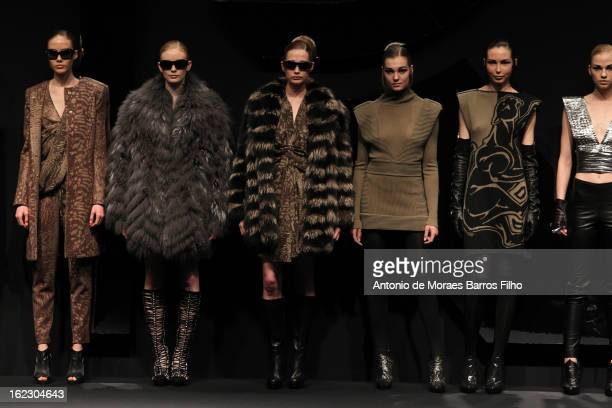 Model walks the runway at the Krizia fashion show during Milan Fashion Week Womenswear Fall/Winter 2013/14 on February 21, 2013 in Milan, Italy.