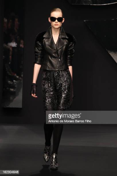 A model walks the runway at the Krizia fashion show during Milan Fashion Week Womenswear Fall/Winter 2013/14 on February 21 2013 in Milan Italy