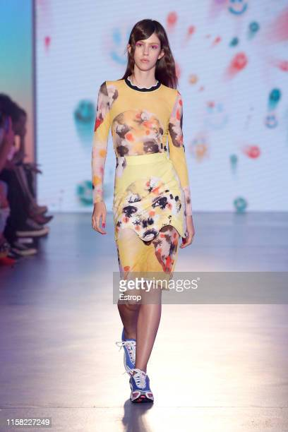 A model walks the runway at the Krizia Robustella show during Barcelona 080 Fashion Week Spring/Summer 2020 on June 25 2019 in Barcelona Spain