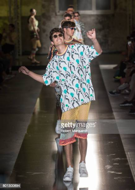 A model walks the runway at the Krizia Robustella show during the Barcelona 080 Fashion Week on June 26 2017 in Barcelona Spain