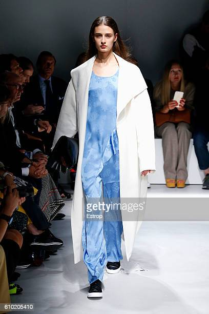 A model walks the runway at the Krizia show Milan Fashion Week Spring/Summer 2017 on September 23 2016 in Milan Italy