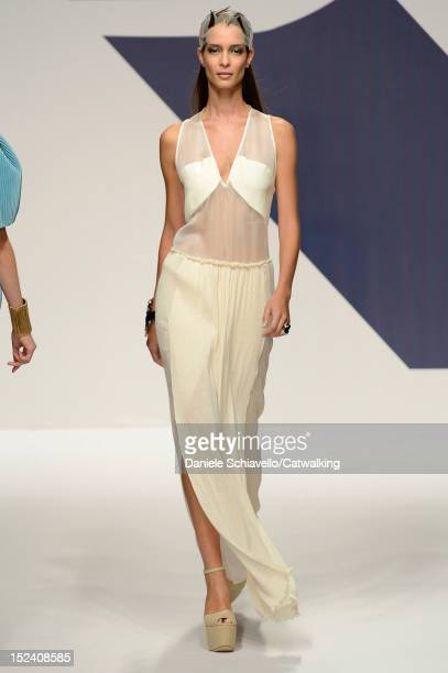 Model walks the runway at the Krizia Spring Summer 2013 fashion show during Milan Fashion Week on September 20, 2012 in Milan, Italy.