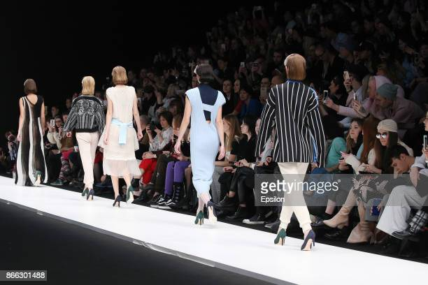 A model walks the runway at the KSENIASERAYA fashion show during day five of Mercedes Benz Fashion Week Russia S/S 2018 at Manege on October 25 2017...