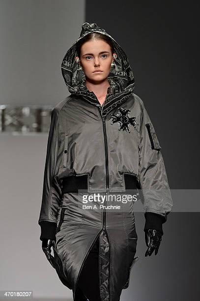 A model walks the runway at the KTZ show at London Fashion Week AW14 at Somerset House on February 18 2014 in London England