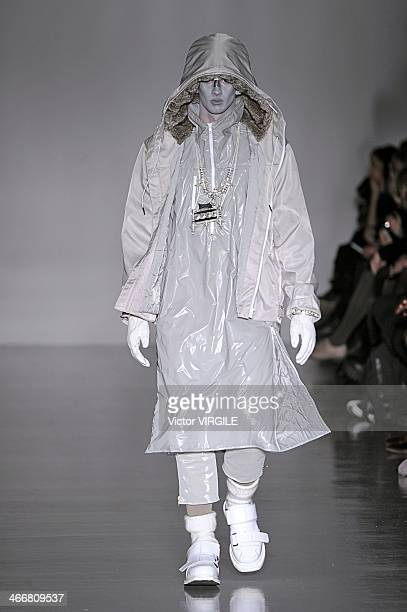 A model walks the runway at the KTZ show during The London Collections Men Autumn/Winter 2014 on January 8 2014 in London England