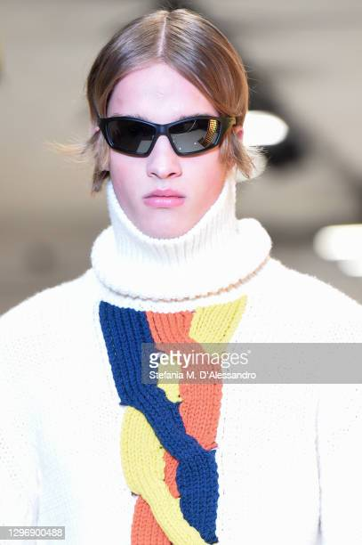 Model walks the runway at the K-Way Fashion Show during the Milan Men's Fashion Week F/W 2021/2022 on January 17, 2021 in Milan, Italy.