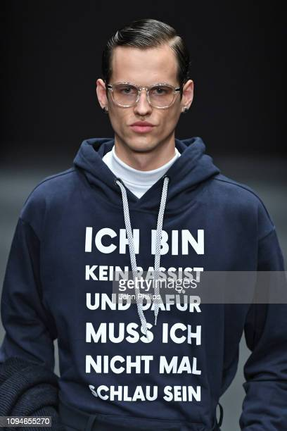 Model walks the runway at the KXXK show during the Berlin Fashion Week Autumn/Winter 2019 at ewerk on January 15 2019 in Berlin Germany
